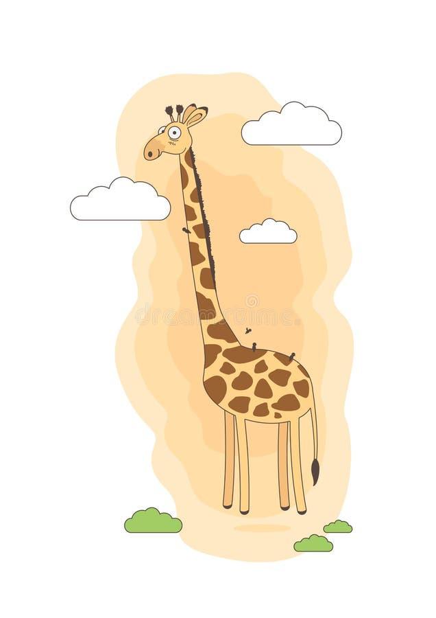 Giraf in de het beeldverhaal vectorillustratie van de wolken leuke tekening stock illustratie