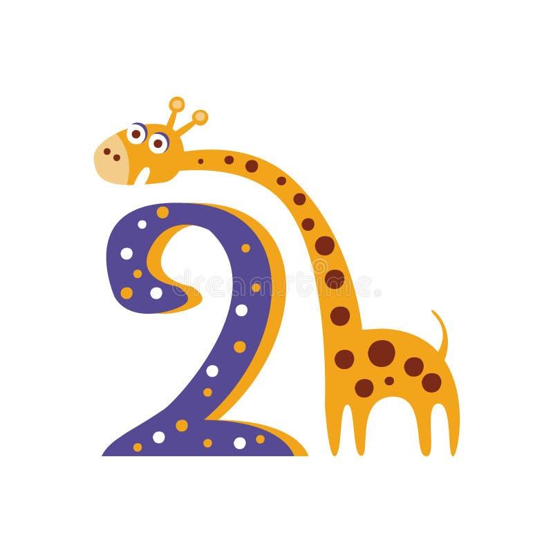 Giraf die zich naast Nummer Twee Gestileerd Funky Dier bevinden royalty-vrije illustratie