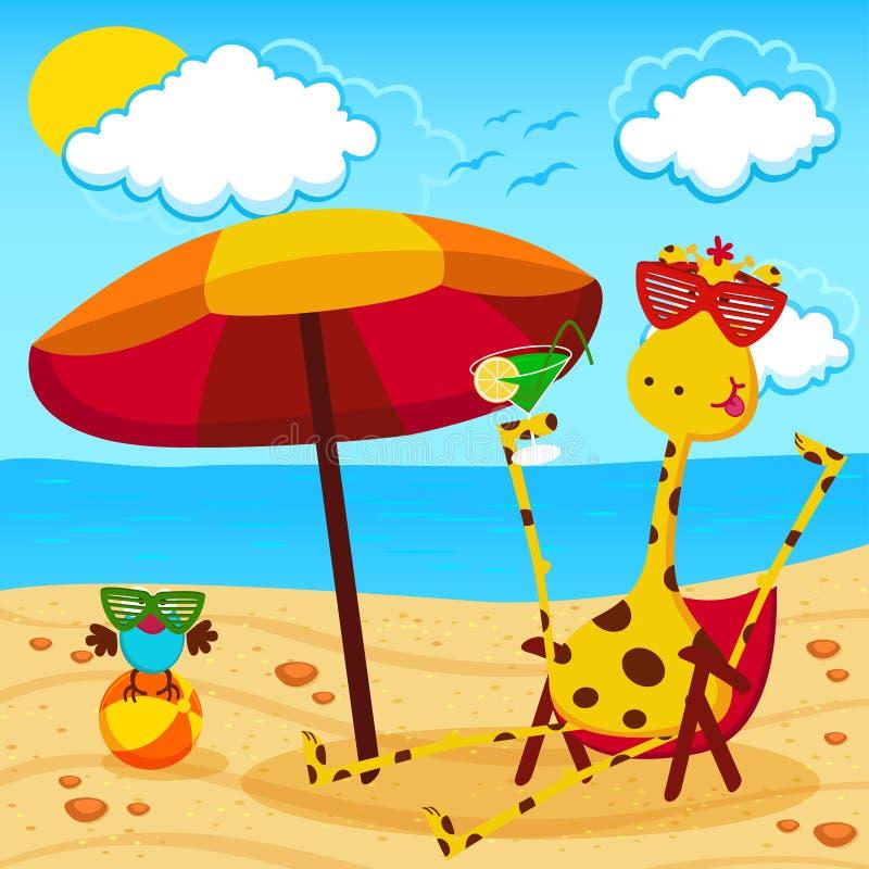 Giraf en een vogel op het strand vector illustratie
