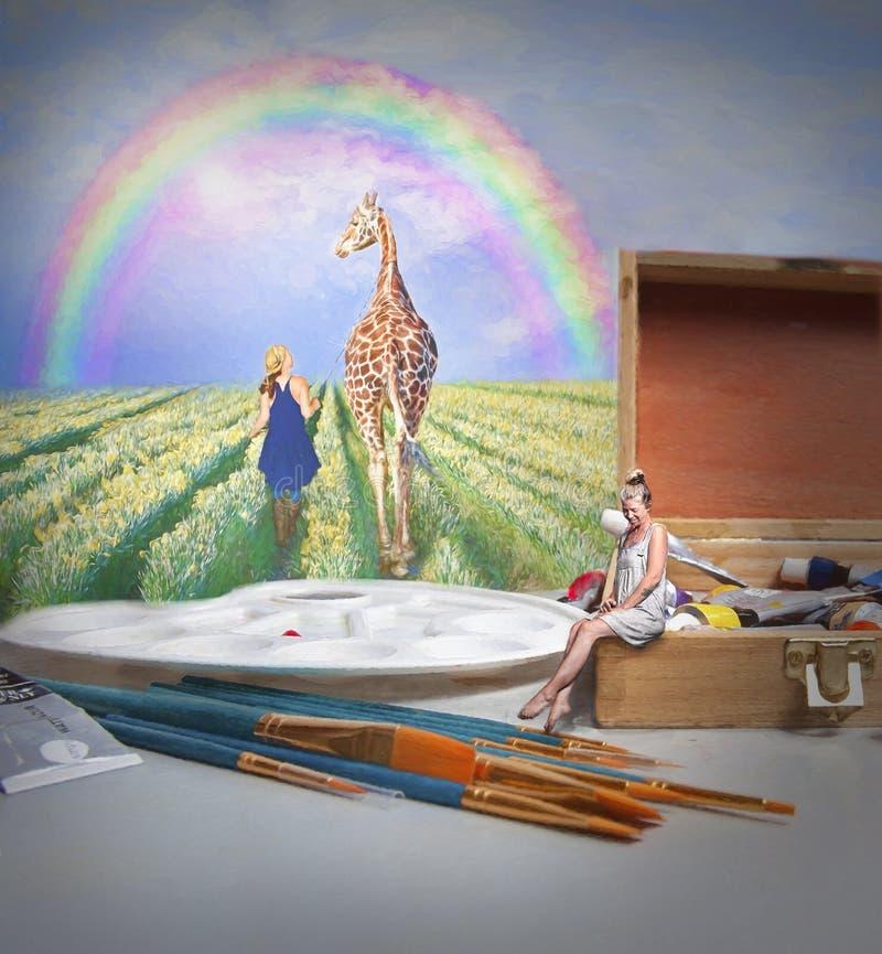 Giraf en regenboog stock foto