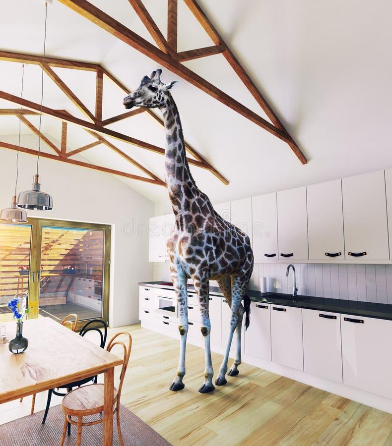 Giraf in het zolderbinnenland vector illustratie