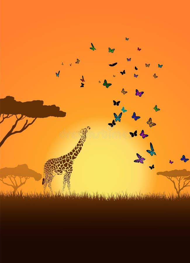 Giraf met haar baby vector illustratie