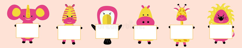 Giraf, olifant, toekan, nijlpaard, hippo, leeuw, gestreept met het beeld van het hoofd Roze wangen Leuk beeldverhaalkarakter T stock illustratie