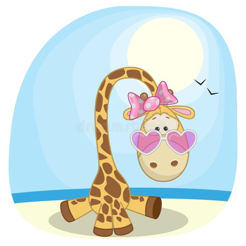 Giraf op het strand stock illustratie