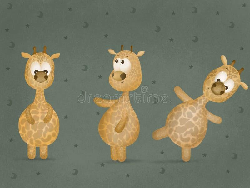 Girafa alegre bonito Est?ncil para crian?as Objeto branco no fundo alaranjado Car?ter do jardim zool?gico do artoon do ? de ? Mol ilustração royalty free