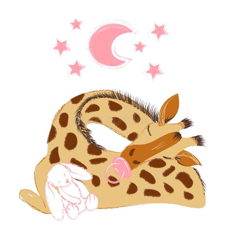 Girafa bonito do bebê que dorme com um luxuoso e uma chupeta para comemorar o nascimento novo ilustração do vetor