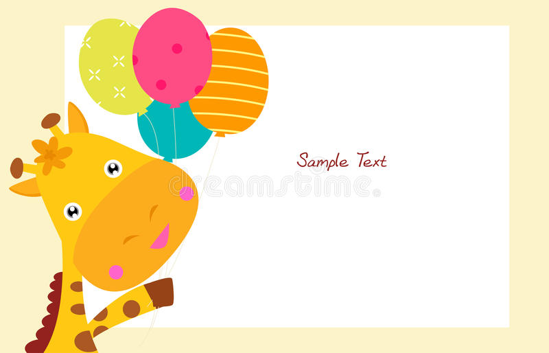 Girafa bonito e balão ilustração do vetor