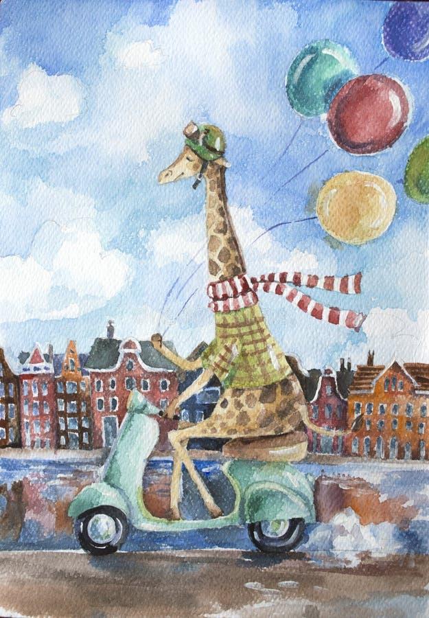 Girafa bonito que conduz o 'trotinette' retro que guarda balões coloridos em uma mão no fundo europeu da paisagem da cidade ilustração royalty free