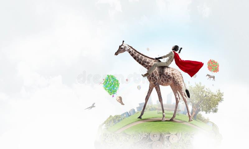 Girafa da equitação da mulher de negócios Meios mistos fotos de stock