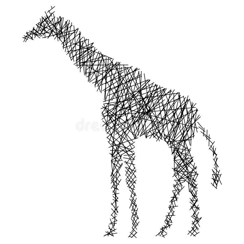 Girafa da silhueta com linhas retas desarrumados ilustração do vetor isolada no fundo branco ilustração stock