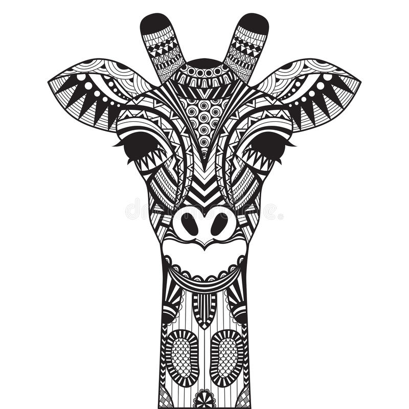 Girafa de Zentangle isolado sobre com fundo ilustração stock