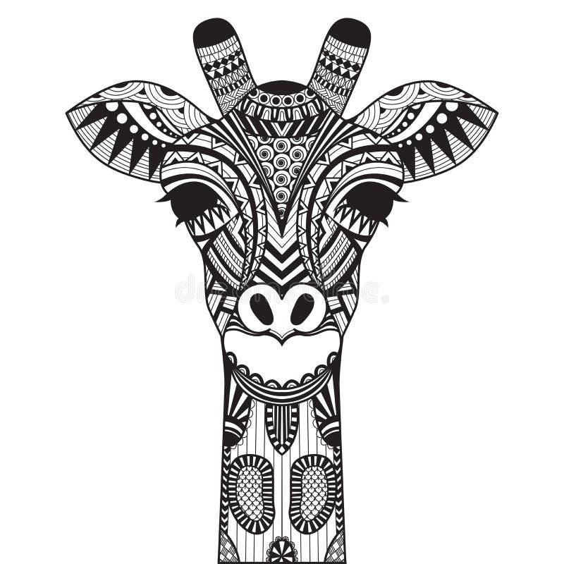 Girafa de Zentangle sobre com fundo ilustração do vetor