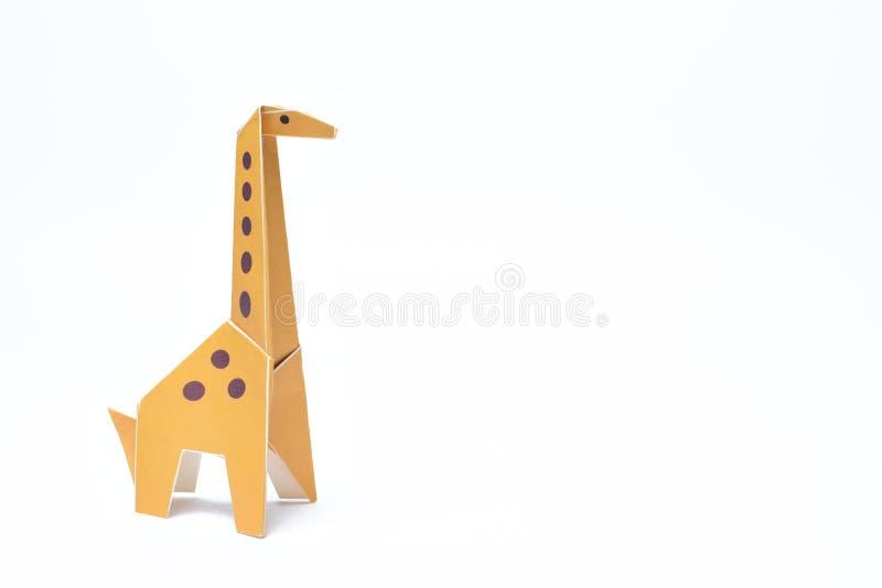 Girafa do origâmi único com espaço da cópia fotografia de stock