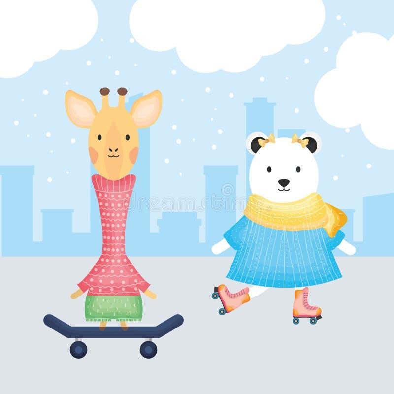 Girafa fêmea no skate e urso polar nos patins ilustração do vetor