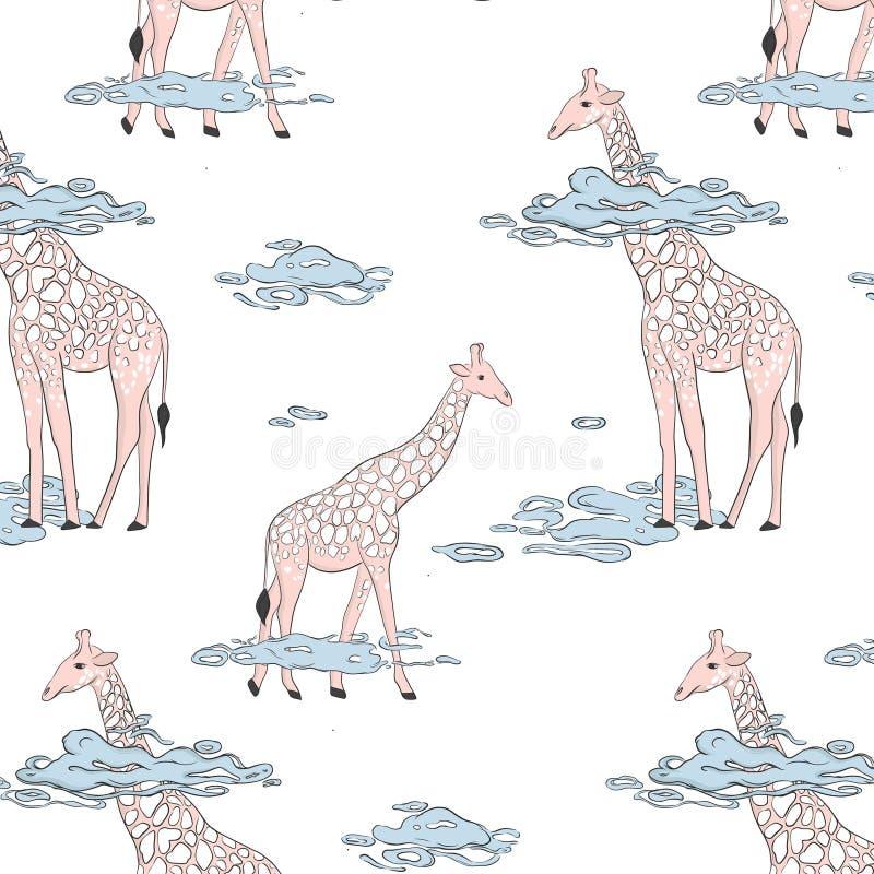 Girafa na ilustração bonito dos desenhos animados do berçário das nuvens Animais tropicais exóticos selvagens Esboço desenhado à  ilustração royalty free