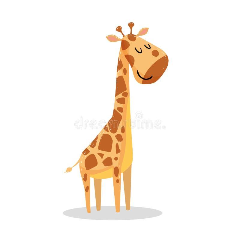 Girafa pequeno do projeto na moda bonito dos desenhos animados com olhos fechados ilustração do vetor