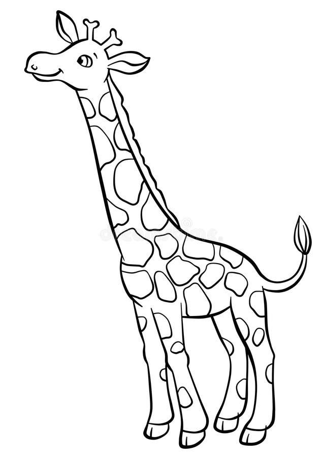 Girafa que come as folhas da árvore ilustração do vetor