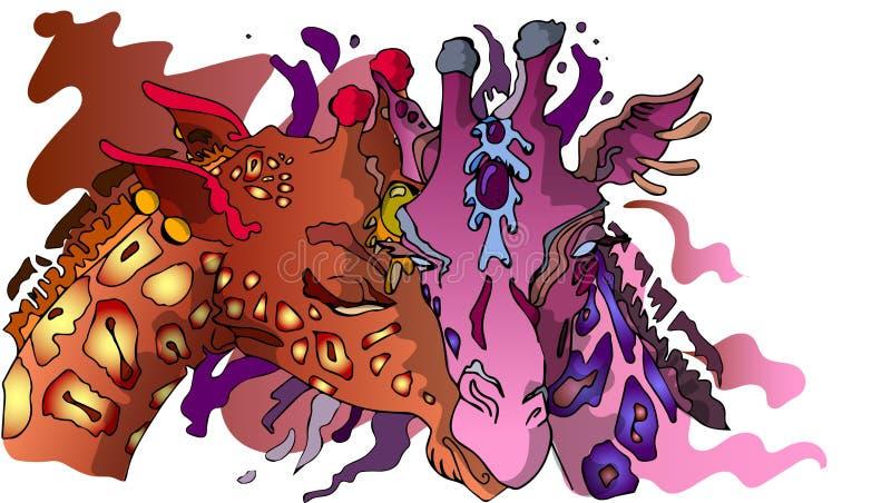 Girafas do ute do ¡ de Ð ilustração do vetor