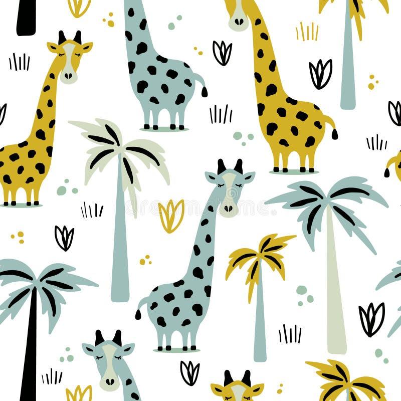 Girafas e palmeiras, teste padrão sem emenda ilustração do vetor