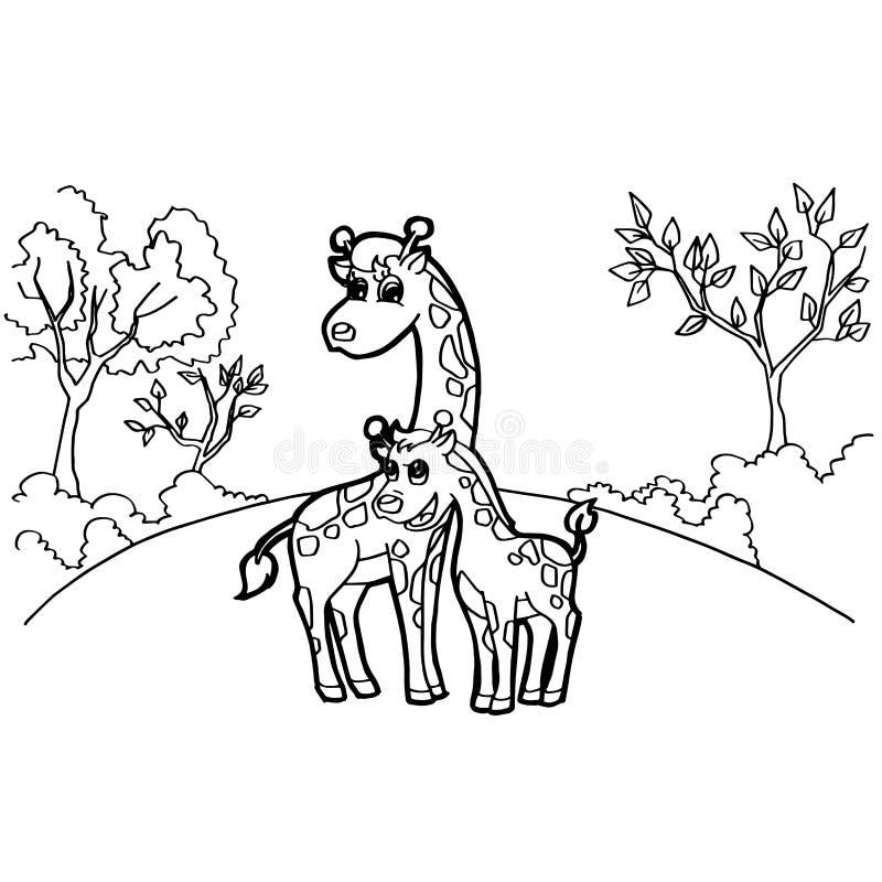 Girafbeeldverhaal het kleuren pagina'svector stock illustratie