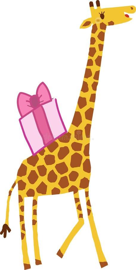 Girafe avec le cadeau photographie stock