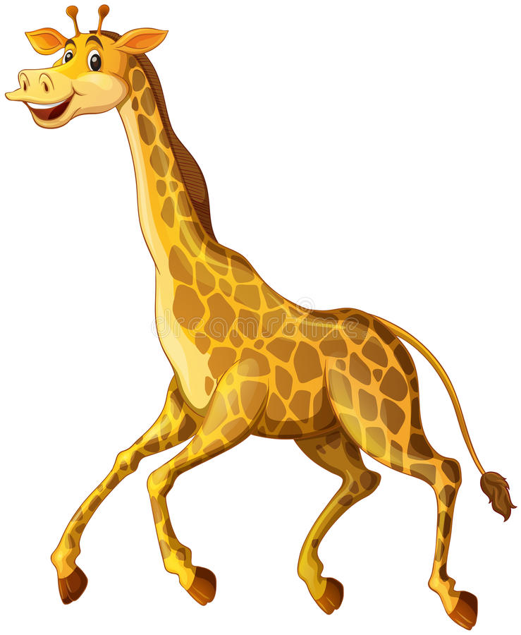 Girafe avec le fonctionnement heureux de visage illustration libre de droits