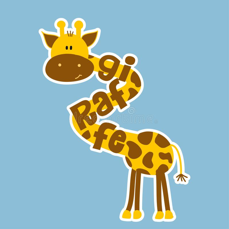Girafe - caractère de vecteur et dessin drôles des textes illustration libre de droits