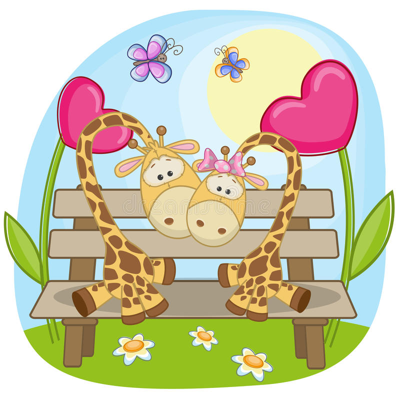 Girafe d'amants illustration stock