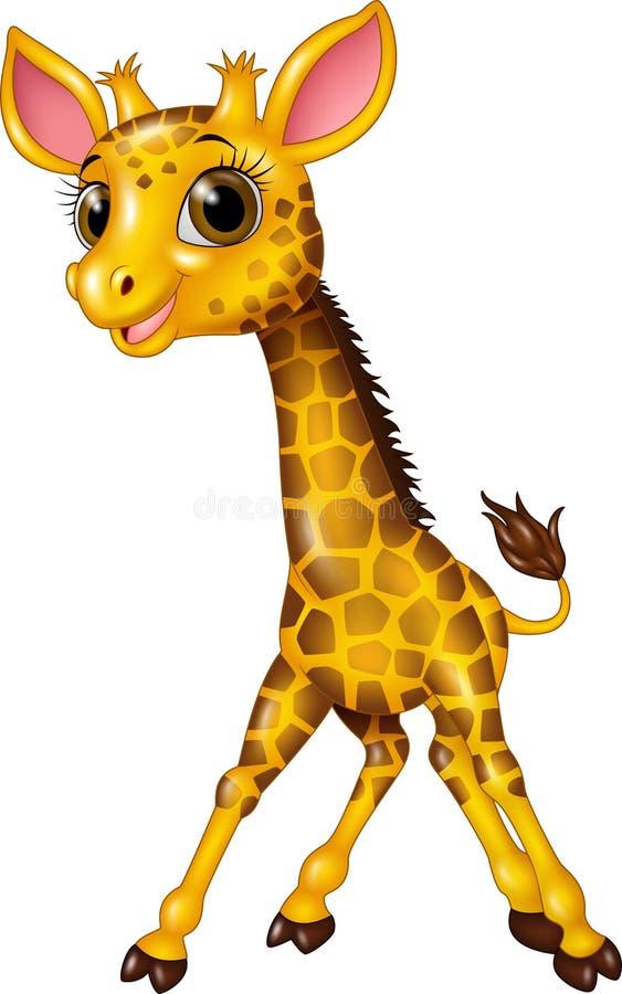 Girafe de bébé de bande dessinée sur le fond blanc illustration stock