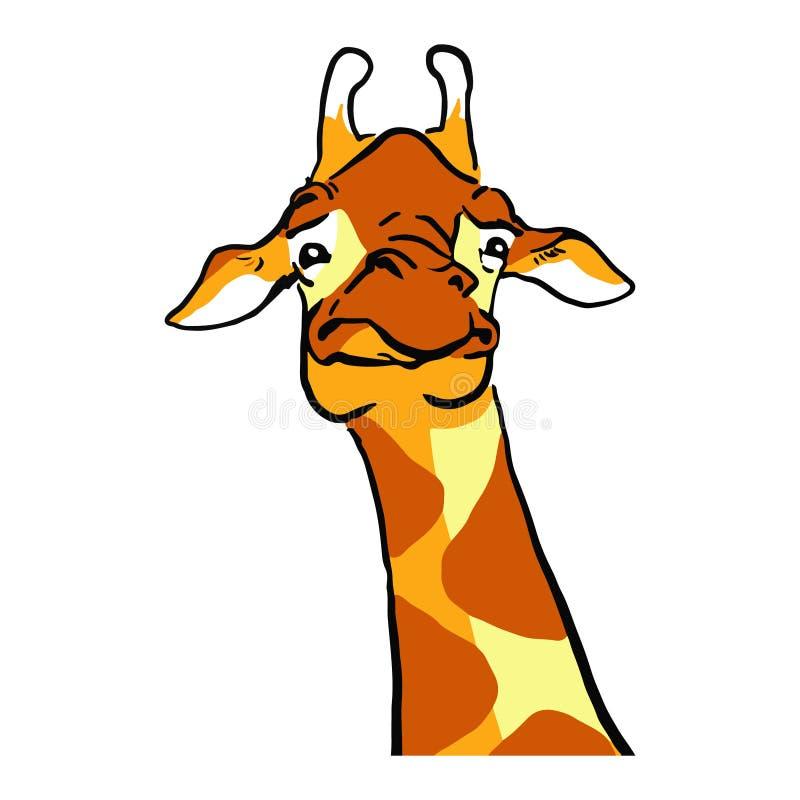 Girafe drôle de grimace de bande dessinée Émotions de girafe illustration libre de droits