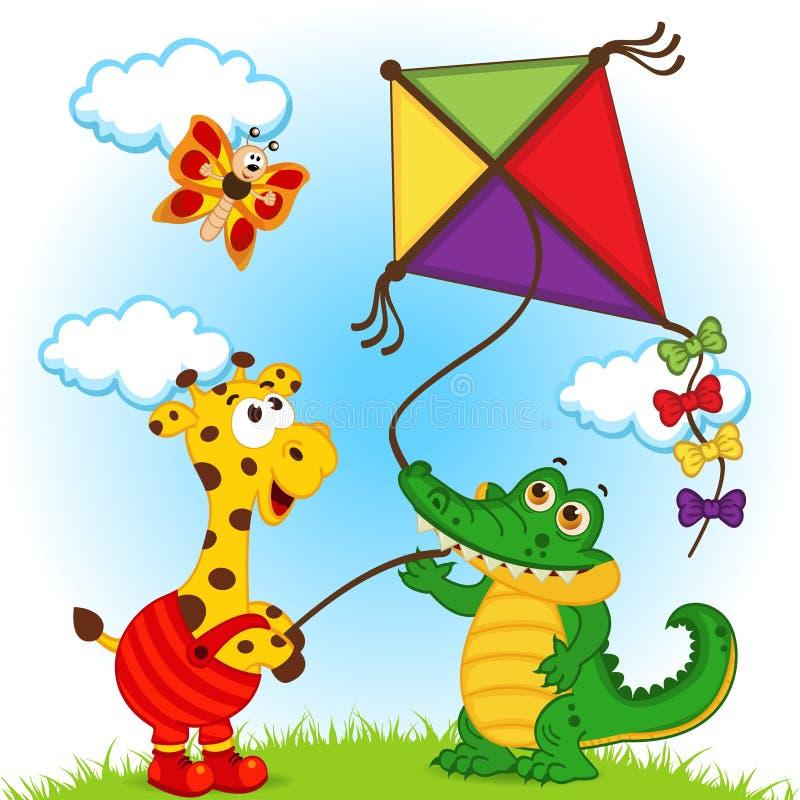 Girafe et crocodile lançant un cerf-volant illustration libre de droits