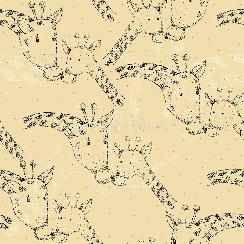 Girafe et maman illustration stock