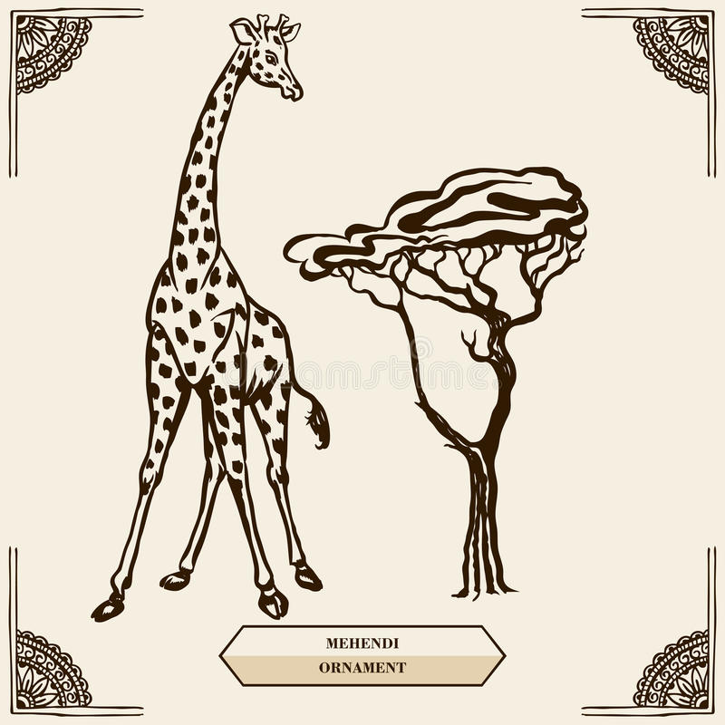 Girafe et ornement de mehendi illustration stock