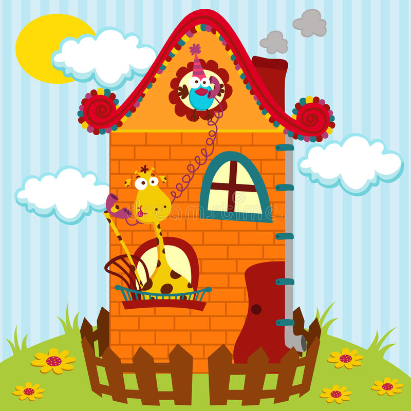 Girafe et un oiseau dans la maison illustration libre de droits