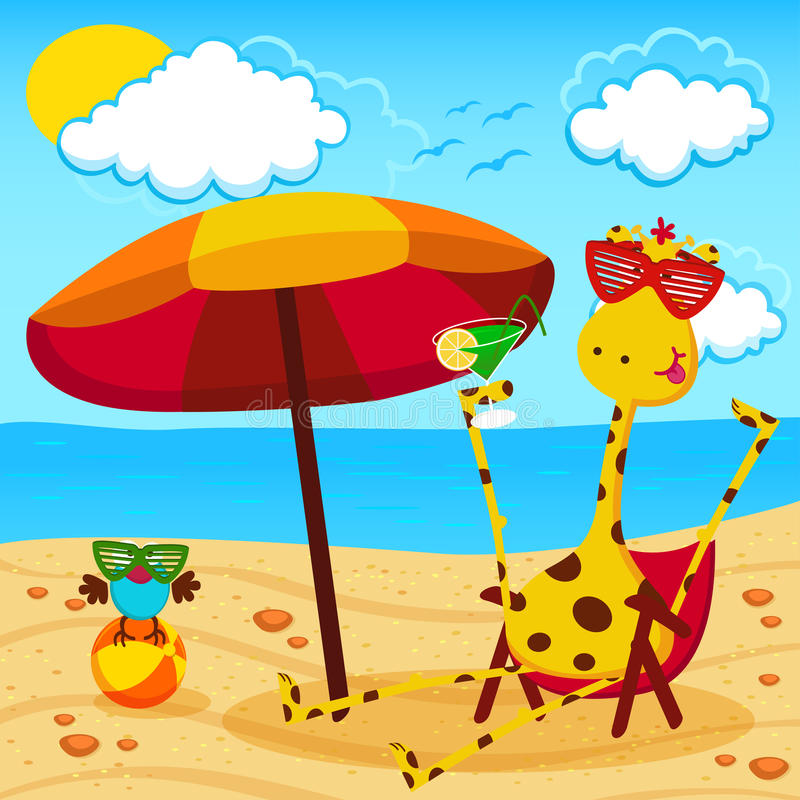Girafe et un oiseau sur la plage illustration de vecteur
