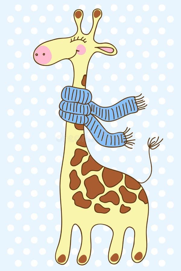 Girafe heureuse mignonne avec une écharpe. illustration de vecteur