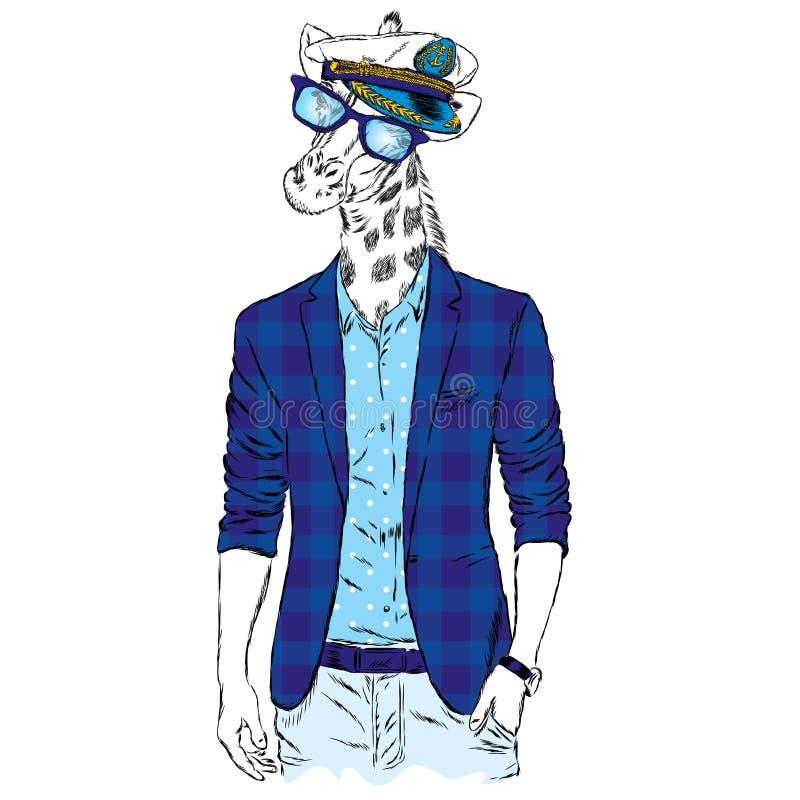 Girafe - hippie dans une veste et des lunettes de soleil Illustration de vecteur illustration stock