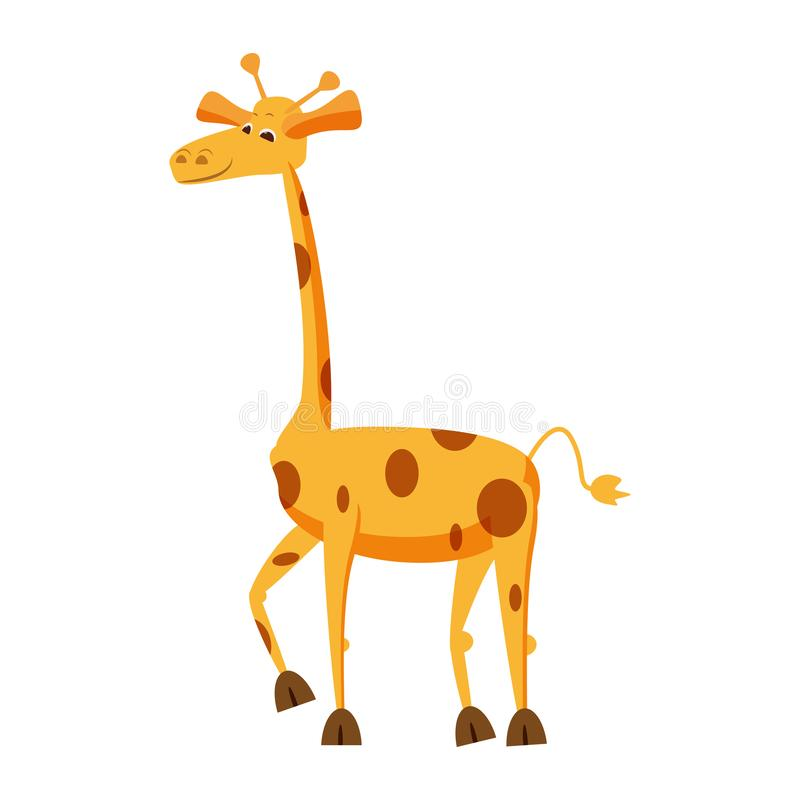 Girafe mignonne, animal, tendance, style de bande dessinée, vecteur, illustration, d'isolement sur le fond blanc illustration libre de droits