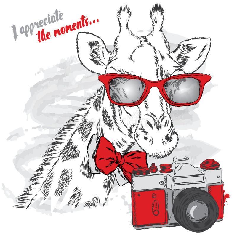 Girafe mignonne avec un appareil-photo Illustration de vecteur illustration de vecteur