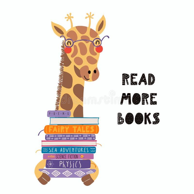 Girafe mignonne avec une pile de livres illustration stock