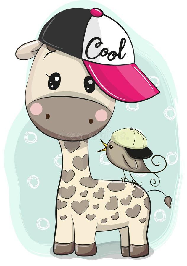 Girafe mignonne de bande dessinée dans un chapeau avec un oiseau illustration libre de droits