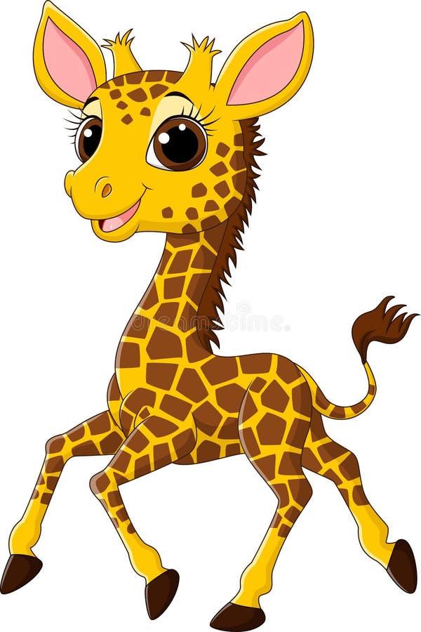 Girafe mignonne fonctionnant sur le fond blanc illustration stock