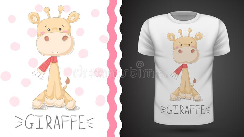 Girafe mignonne - id?e pour le T-shirt d'impression illustration stock