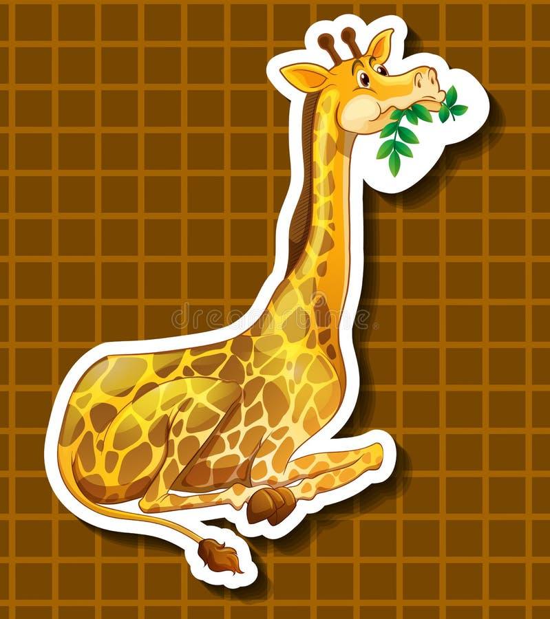 Girafe mignonne mâchant sur les feuilles vertes illustration libre de droits