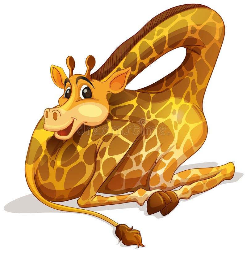 Girafe mignonne pliant son cou illustration de vecteur