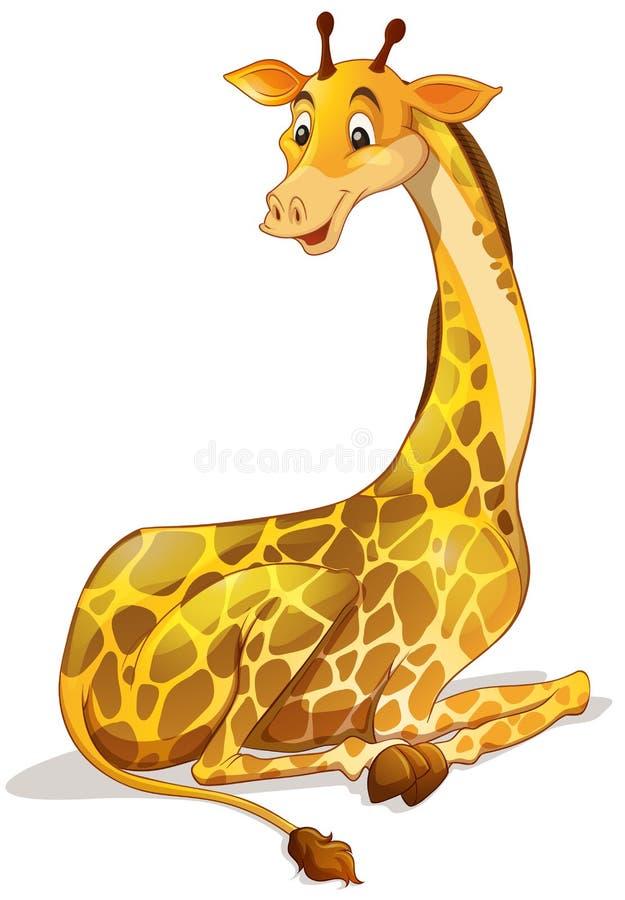 Girafe mignonne seul se reposant illustration de vecteur