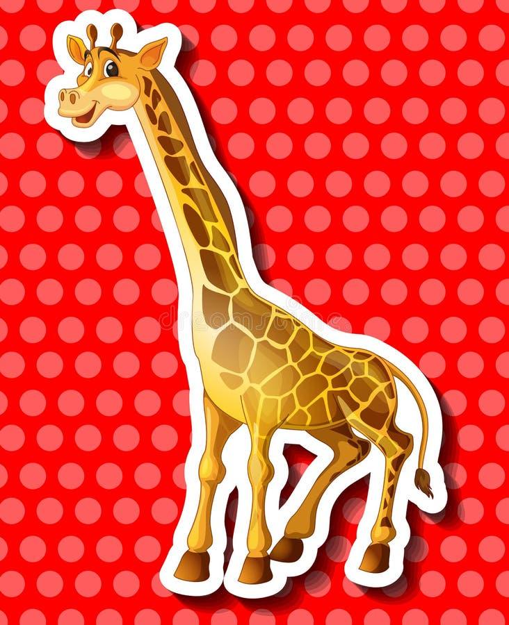 Girafe mignonne sur le fond rouge illustration stock