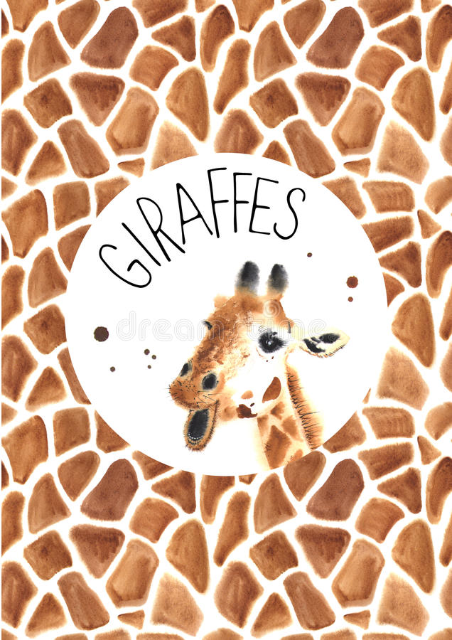 Girafe réaliste d'aquarelle photo stock
