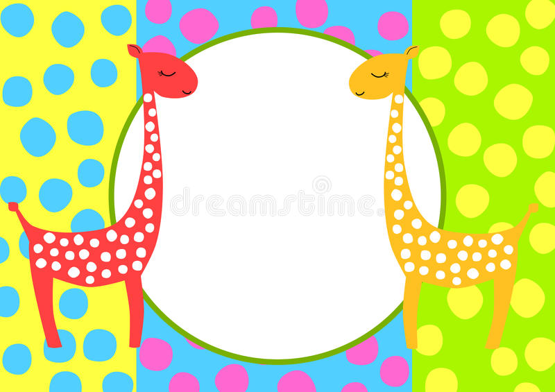 Girafes de porte-cartes d'invitation illustration de vecteur
