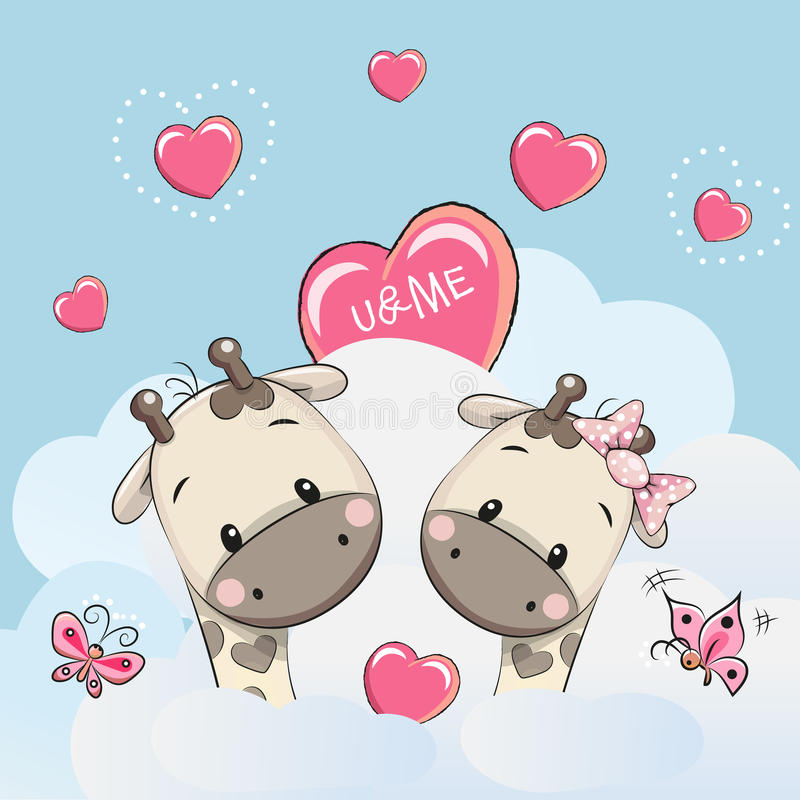 Girafes mignonnes d'amants illustration de vecteur